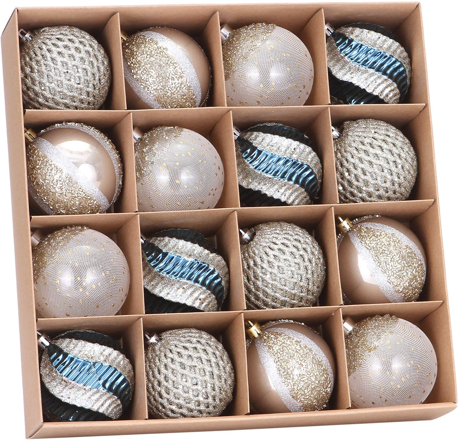 """Sea Team 80mm/3.15"""" Delicate Contrast Color Theme Painting & Glittering Christmas Tree Pendants Decorative Hanging Christmas Baubles Balls Ornaments Set - 16 Pieces (Stone Blue & Silver Grey)"""