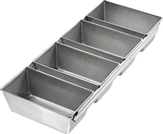 product image for USA Pan Bakeware Strapped Mini Loaf Pan, 4 Loaves, Nonstick & Quick Release Coating, Made in the USA from Aluminized Steel