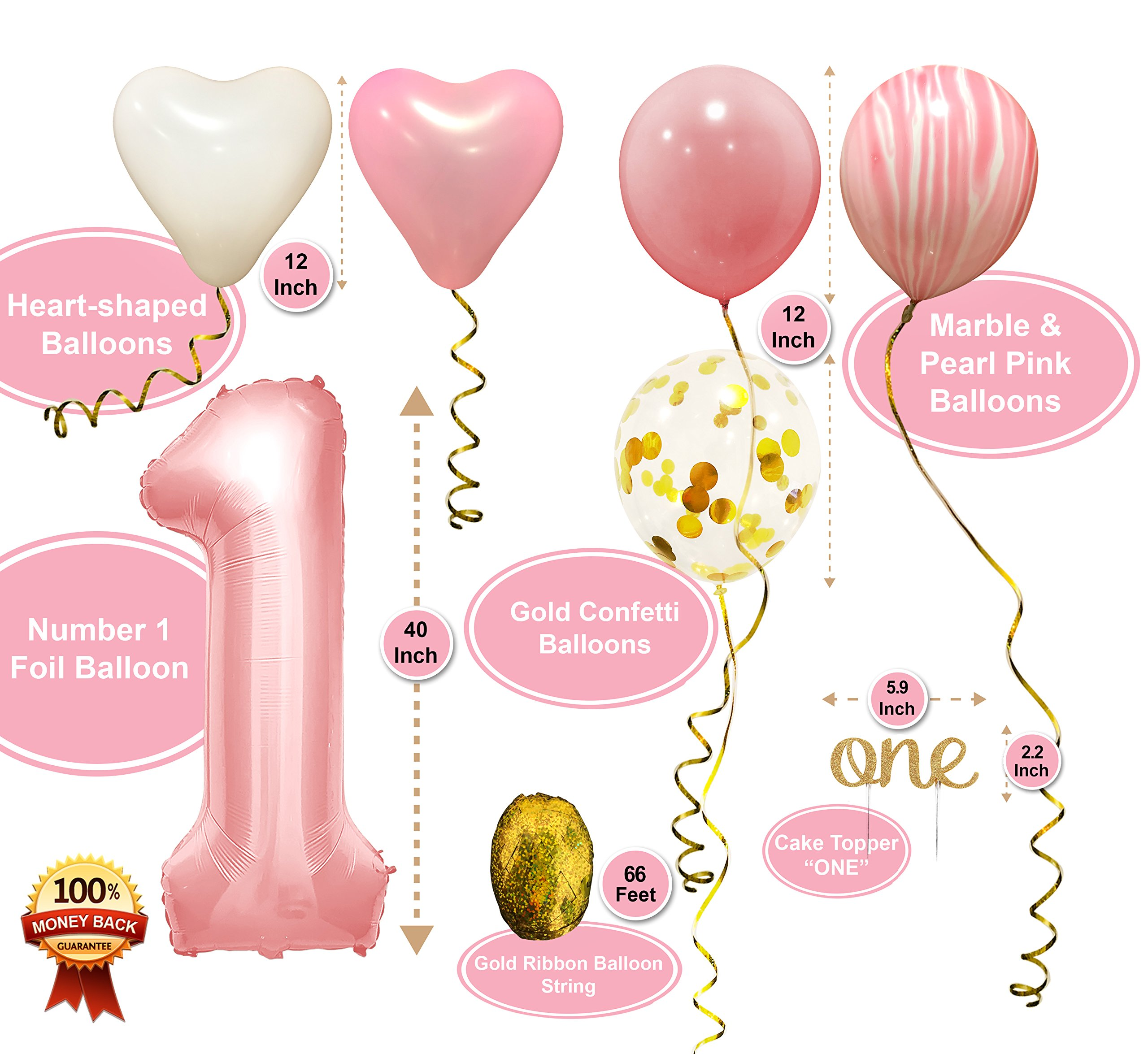 PartyHooman First Birthday Decorations For Girl