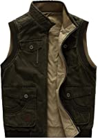 uygmxdnxg Mens Cotton Pocket Military Vest Vest