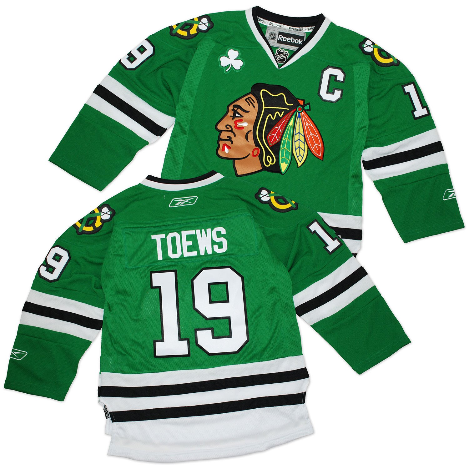 Amazon.com   Jonathan Toews Youth Jersey  Reebok St. Patrick s Day Green  19  Chicago Blackhawks Youth Premier Jersey   Sports Fan Jerseys   Sports   ... 37f769533