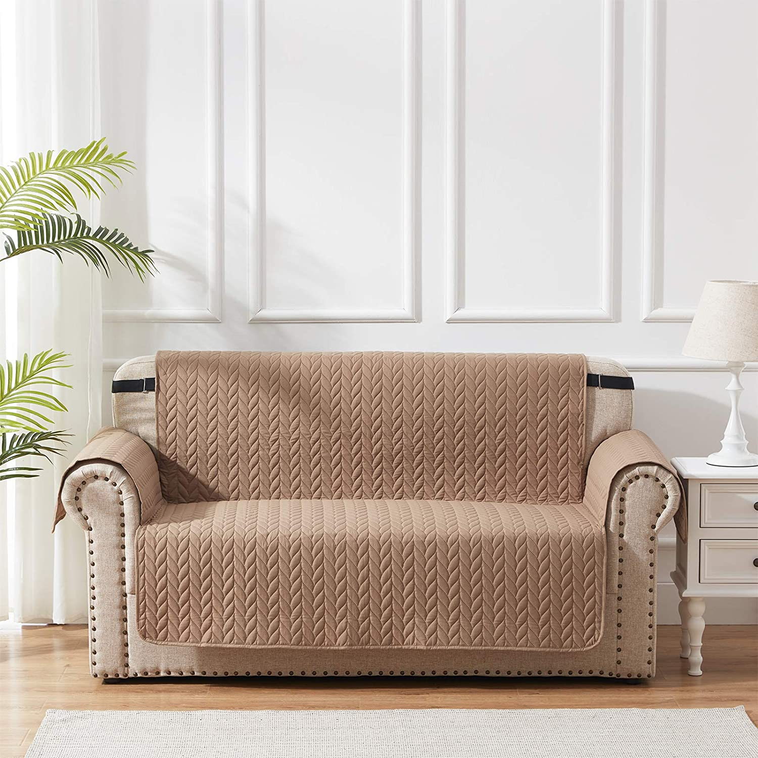 SunStyle Home Furniture Protector Loveseat Cover 100% Waterproof Leaf Embroidered Loveseat Couch Cover with Adjustable Elastic Strap and Non-Slip Backing - Taupe/Beige