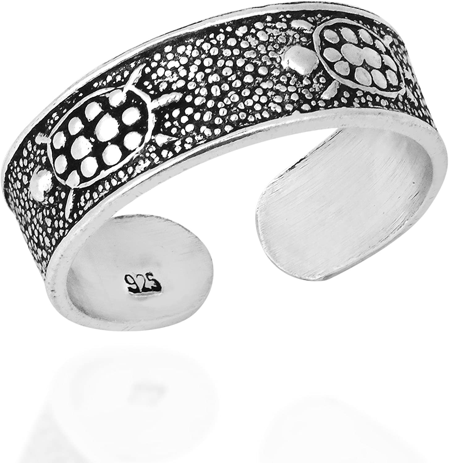 AeraVida Mythic Marine Turtle Band .925 Sterling Silver Toe Ring or Pinky Ring