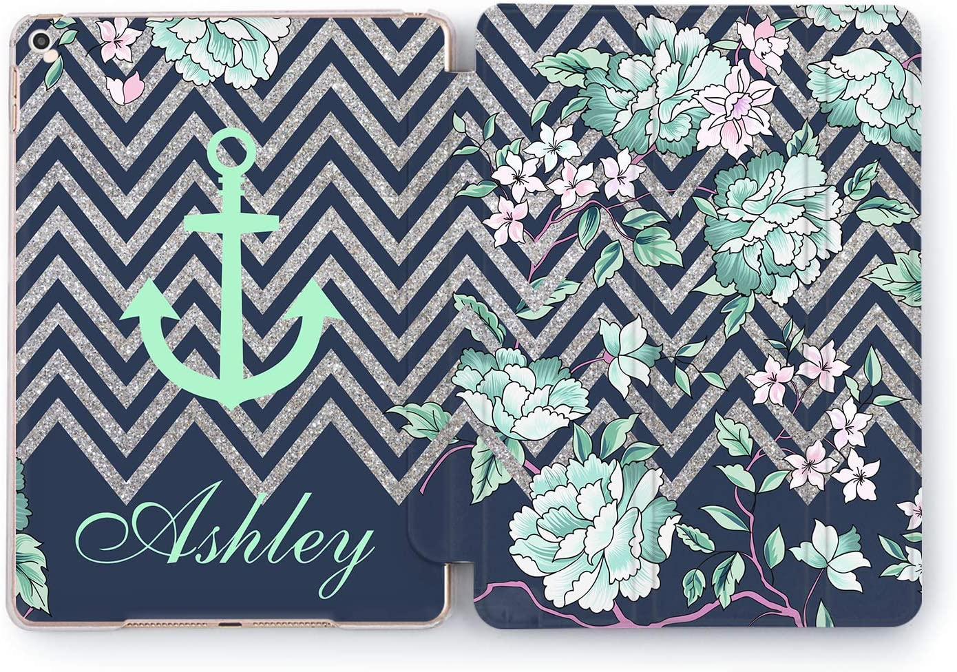 Wonder Wild Case Compatible with Apple iPad Custom Mini 1 2 3 4 Air 2 Pro 10.5 12.9 11 10.2 9.7 inch 5th 6th Generation Cover Personalized Name Succulent Tropical Cactus Silver Stripes Flora Print