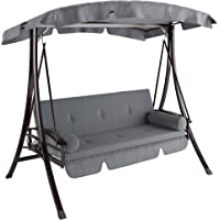 CorLiving PNT-532-S Nantucket Daybed Patio Swing, Charcoal & Grey