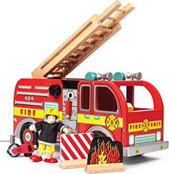Le Toy Van Pretend Play Wooden Fire Engine Toy Truck Vehicle Play Set Includes Firefighter Figure and Accessories | Fireman Playset For 3 Year Olds