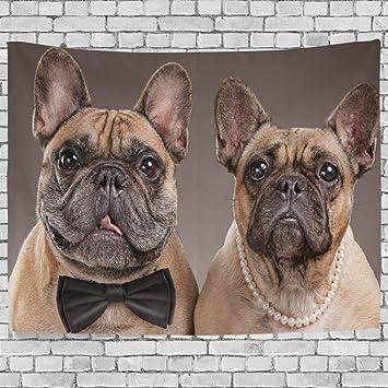 Tapiz para colgar en la pared, diseño de perro bulldog francés, tejido de poliéster