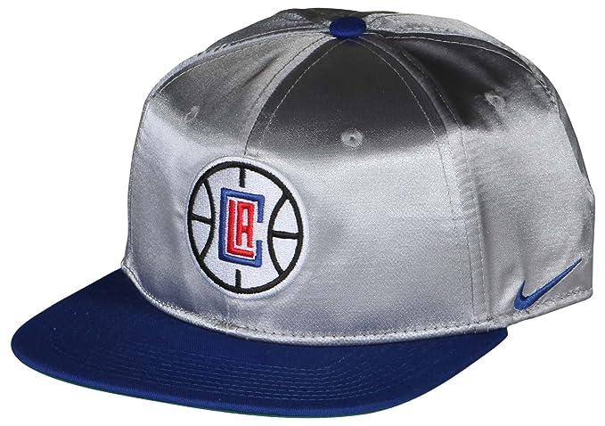 NIKE Unisex LA Clippers NBA Pro Satin Classic Snapback Hat-Flat Silver-One  Size fb3a7711acf