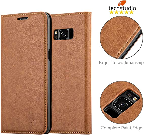 Tecshtudio Leather Flip Cover Wallet Case for Samsung Galaxy S8 Coffee  Mobile Phone Cases   Covers