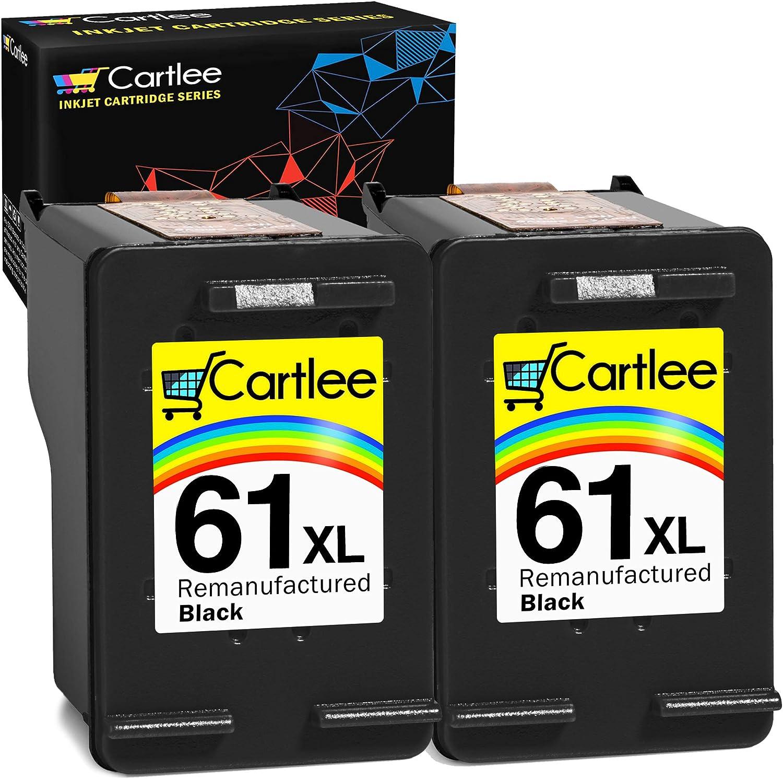 Cartlee Pack of 2 Black Remanufactured 61XL High Yield Ink Cartridges for HP Deskjet 1000 1010 1050 1510 1512 2000 2050 2510 2540 2542 2543 2549 3000 3050 Officejet 2622 4630 2620 4632 4635