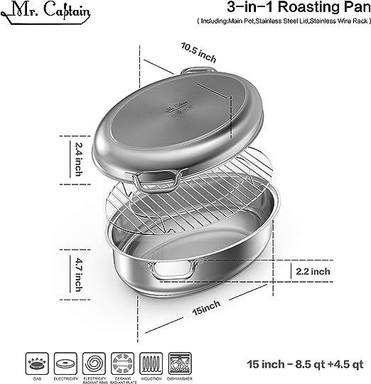 Amazon.com: Mr Captain 18/10 tostadora ovalada cubierta de ...