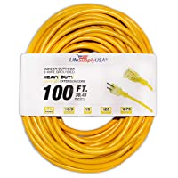 LifeSupplyUSA 10/3 100ft SJTW Lighted End Extension Cord, 15 Amp, 125 Volt, 1875...