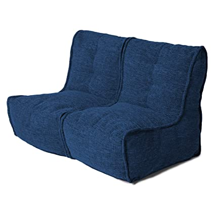 Peachy Fluco Duo Double Seater Twin Couch Set Modular Bean Bag Sofa Cover With Filler Beans Twin Blue Andrewgaddart Wooden Chair Designs For Living Room Andrewgaddartcom