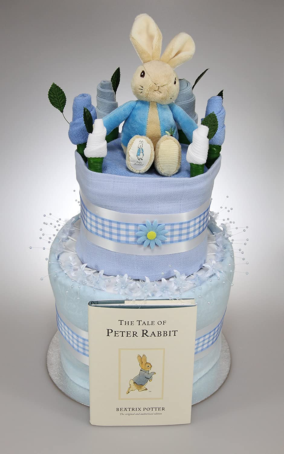Baby Boy Two Tier Nappy Cake with Peter Rabbit Soft Toy and Book New Born Baby Shower Gift Tiny Togs Ltd