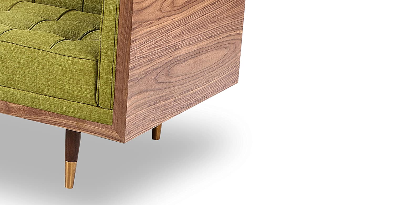 Kardiel Woodrow Mid-Century Modern Box Loveseat Atomic Moss Twill//Walnut