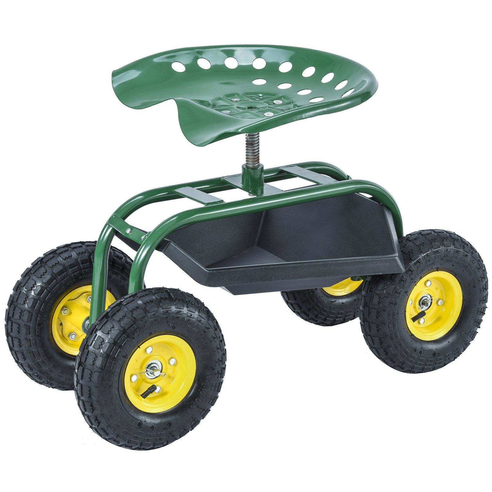 Mecor Garden Cart Work Seat with Tool Tray Gardening Wagon Rolling Heavy Duty Cart