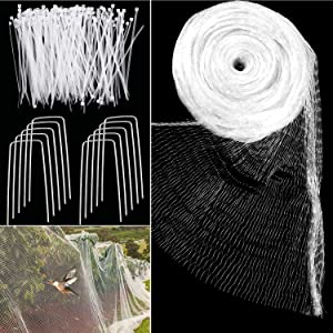 4 M x 10 M Anti Bird Protection Net Garden Plant Mesh Netting Fruit Trees Netting with Cable Ties and U-Shaped Garden Pegs (White)