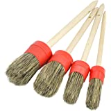 Detail Brush Kit with Natural Boars Hair (Set of 4) - Great for Wheels, Engine, Interior, Emblems