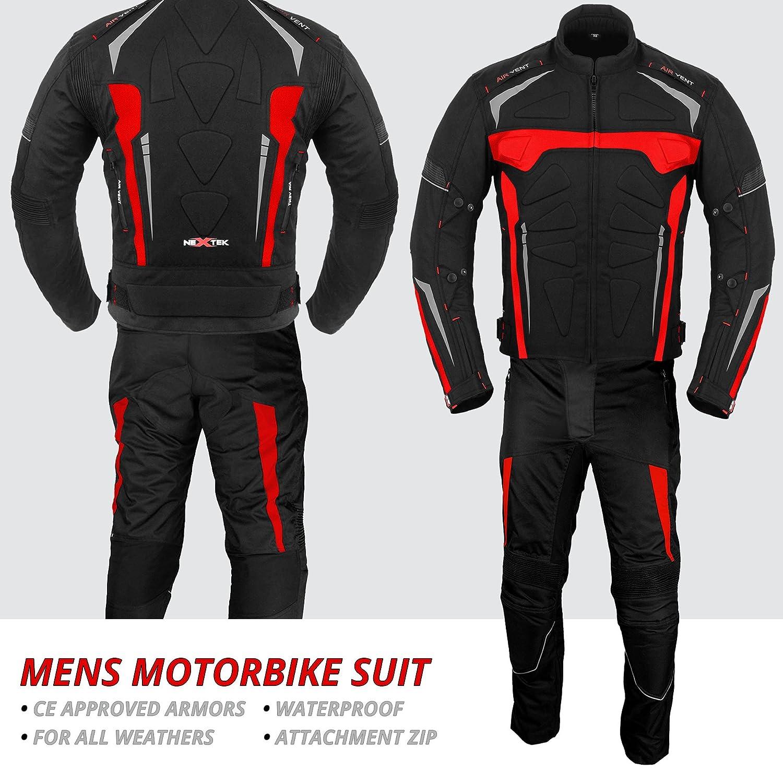 Combinaison de Moto avec des Gants Armored Costume 2 pi/èces Moto Moto Combinaison /étanche Jacket avec des Gants de Pantalon CE Armor All Weather pour Homme