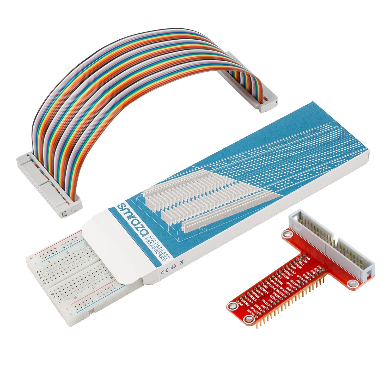 Smraza T Type GPIO Breakout board for Raspberry Pi 3 2 Mode B/B+ with 830  tie-points Breadboard and 40 Pin Rainbow Cable