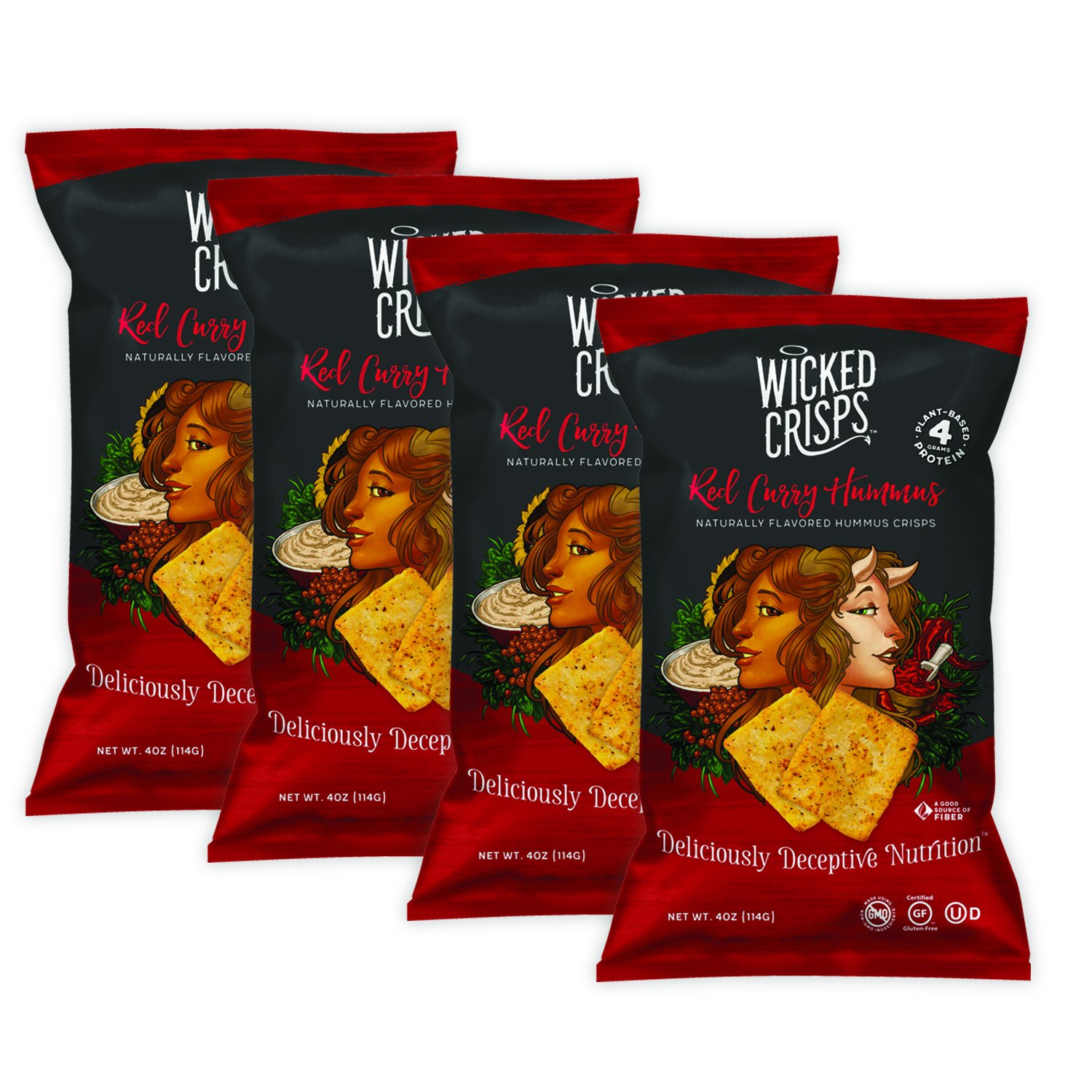 Wicked Crisps, Red Curry Hummus, Deliciously Deceptive Nutrition, Gourmet Hummus Crisps, No Additives or Preservatives, Gluten Free, Non-GMO, 4oz party-size bag (4 pack)