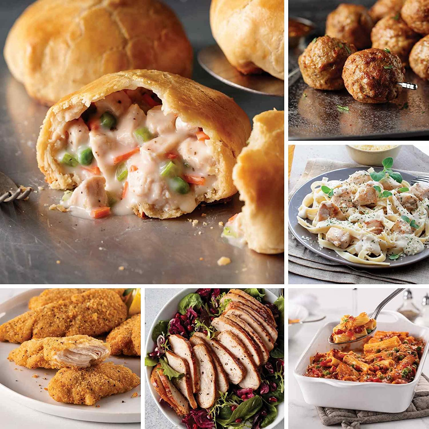 Family Packed Favorites from Omaha Steaks (Chicken in Pastry, Oven-Fried Chicken Tenders, Fully Cooked Sliced Chicken Breast, Rigatoni alla Vodka with Pancetta, Chicken Fettuccine Alfredo, and more)