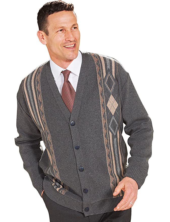 Men's Vintage Sweaters – 1920s to 1960s Retro Jumpers Benbrook Mens Jaquard Button Cardigan �35.00 AT vintagedancer.com