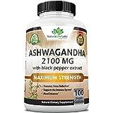 Organic Ashwagandha 2,100 mg - 100 Vegan Capsules Pure Organic Ashwagandha Powder and Root Extract - Stress Relief, Mood Enha