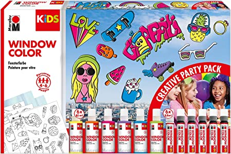 Kids Window Color Party Pack - Pintura para ventanas (base de agua ...