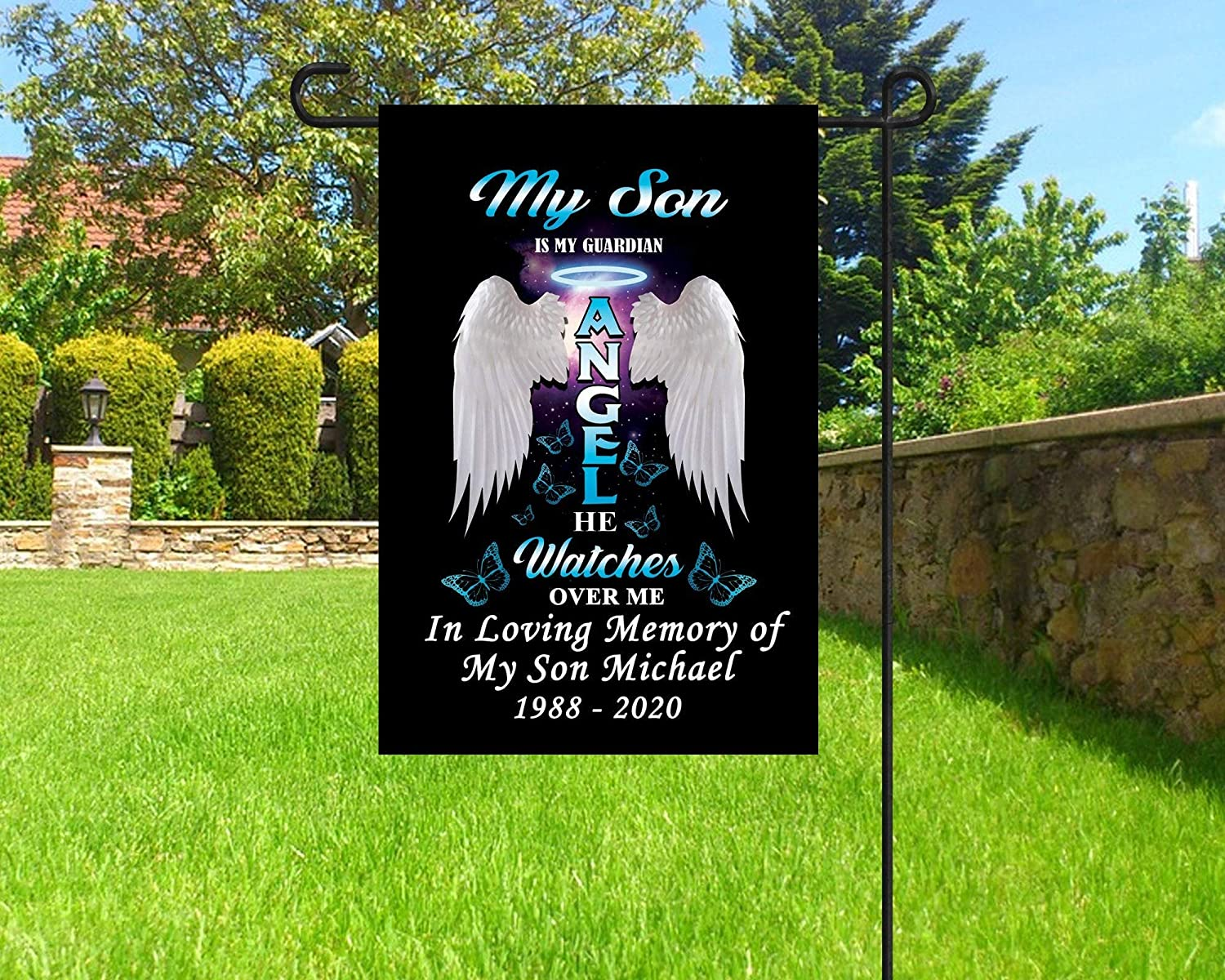 NicePodLLC Personalized Garden Flag-in Memory of Son Angel Wings Flag, My Son is My Guardian Angel Flag, Personalized Memorial Flag, Cemetery Decoration-Custom Gifts