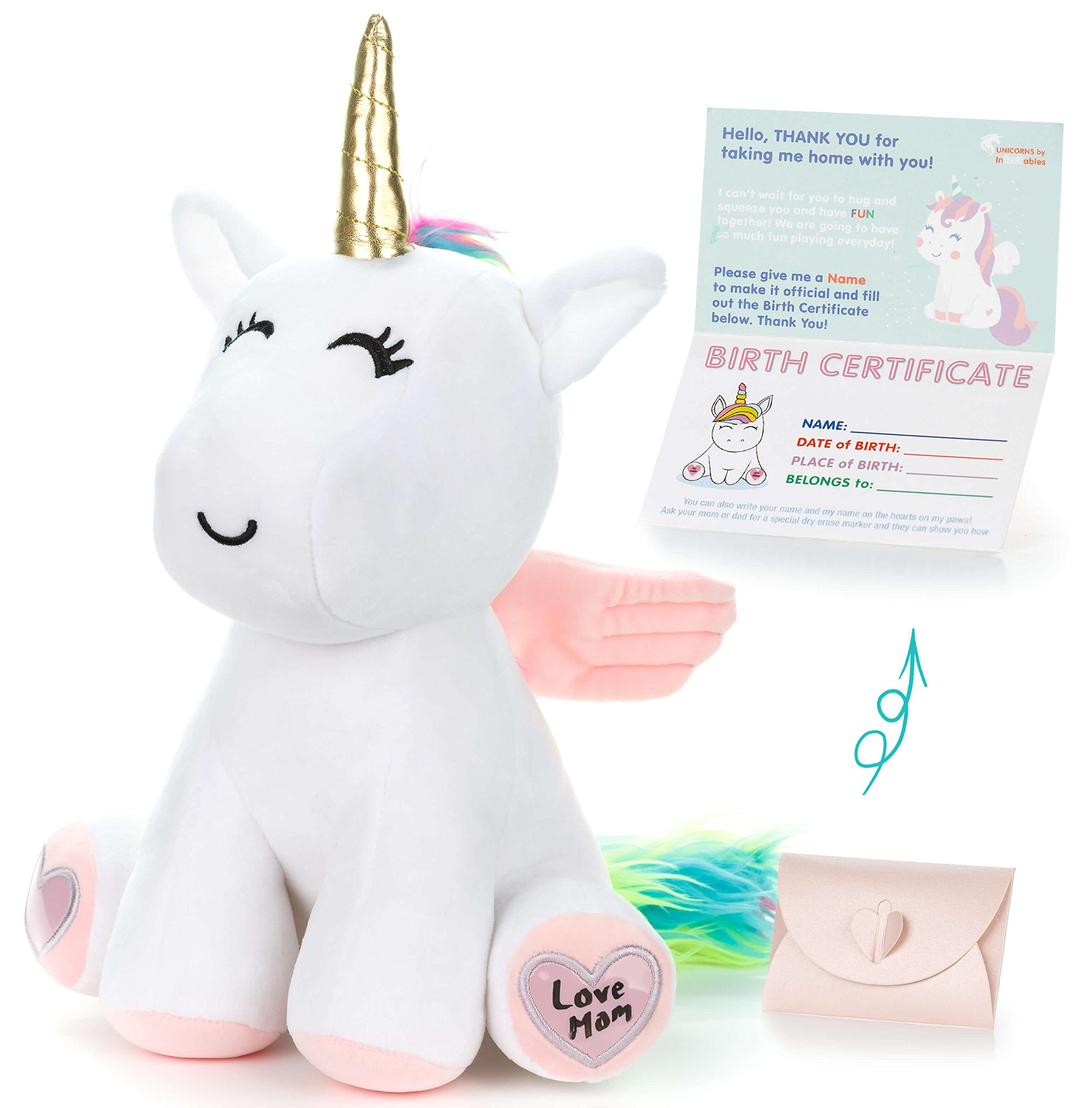 Unicorn Stuffed Animal - Cute Unicorn Gifts Large 13'' White Unicorns Plush Toy w Pink Wings Rainbow Hair & Writable Pink Heart Paws! Gift Packaged for Graduation, Birthday or Valentines Gift for Girls by infloatables