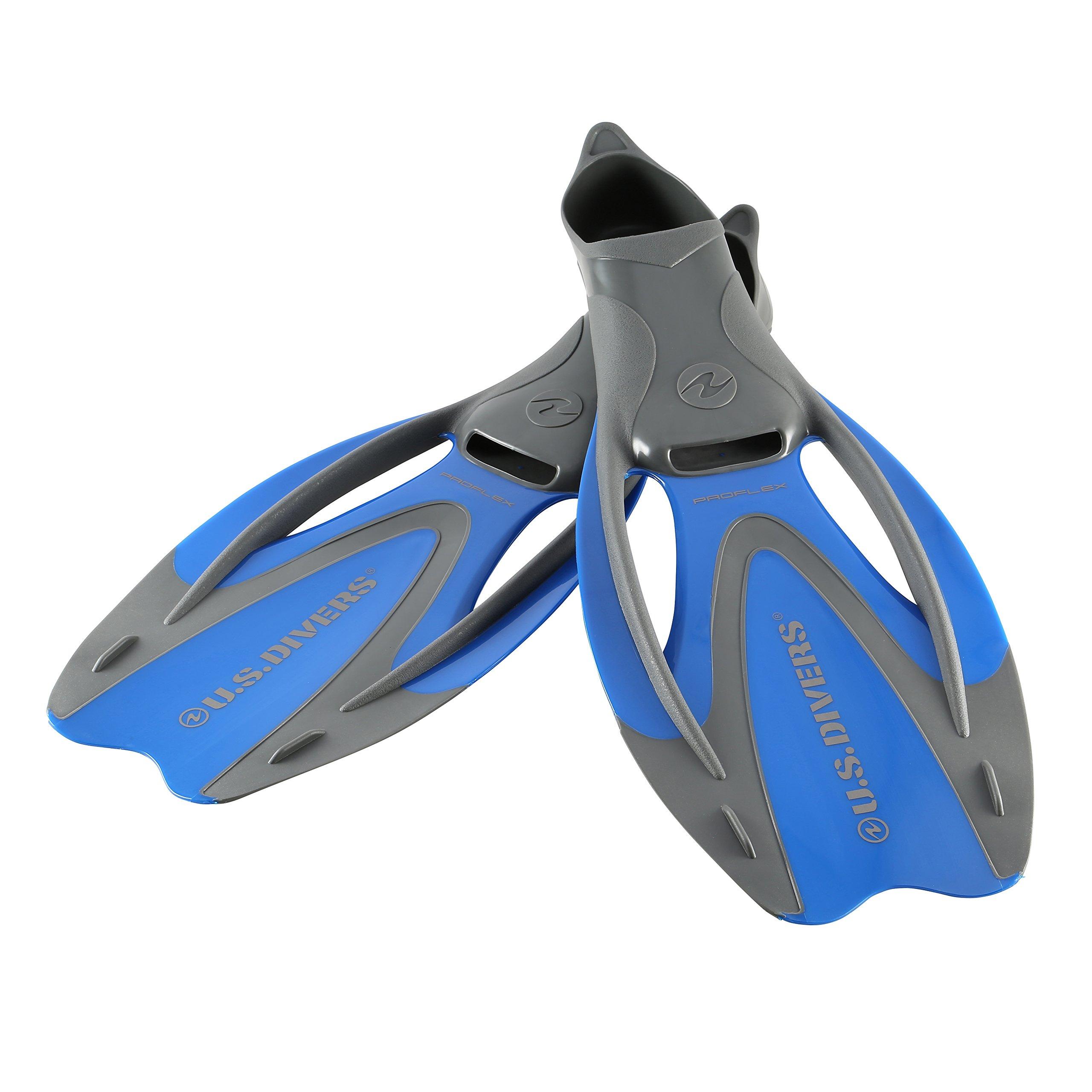 U.S. Divers Proflex II Snorkel Fins (Electric Blue). Adult Dual-Composite Blade Snorkeling Fins (Size Medium. Range 6.5-8) by U.S. Divers