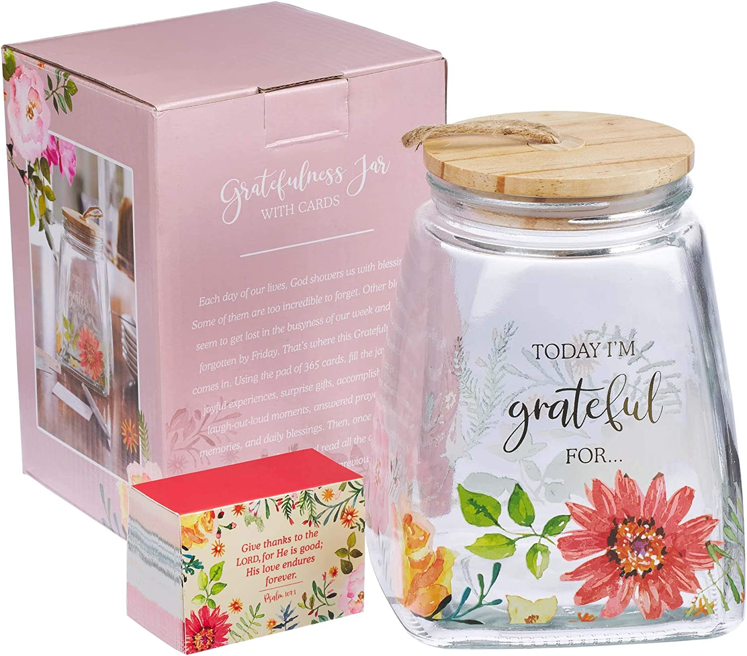 Amazon Com Christian Art Gifts Keepsake Gratitude Jar Set W Bible Verse Note Cards Today I M Grateful For Inspirational Count Your Blessings Container Home Improvement