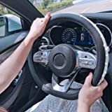 ZATOOTO Diamond Steering Wheel Cover D Shape - Bling Crystal Rhinestones Car Genuine Leather Flat Bottom Black White for Wome