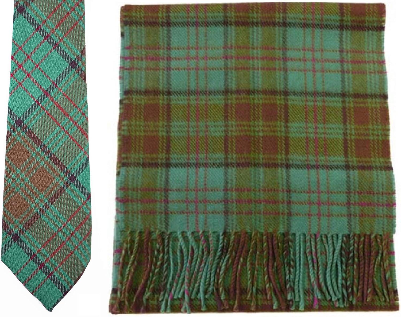 Matching set made in Scotland USA Kilts Irish County Antrim Tartan Wool Necktie and lambswool scarf