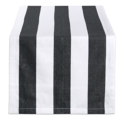 Genial DII 18x108 Cotton Table Runner, Black U0026 White Cabana Stripe   Perfect For  Halloween,