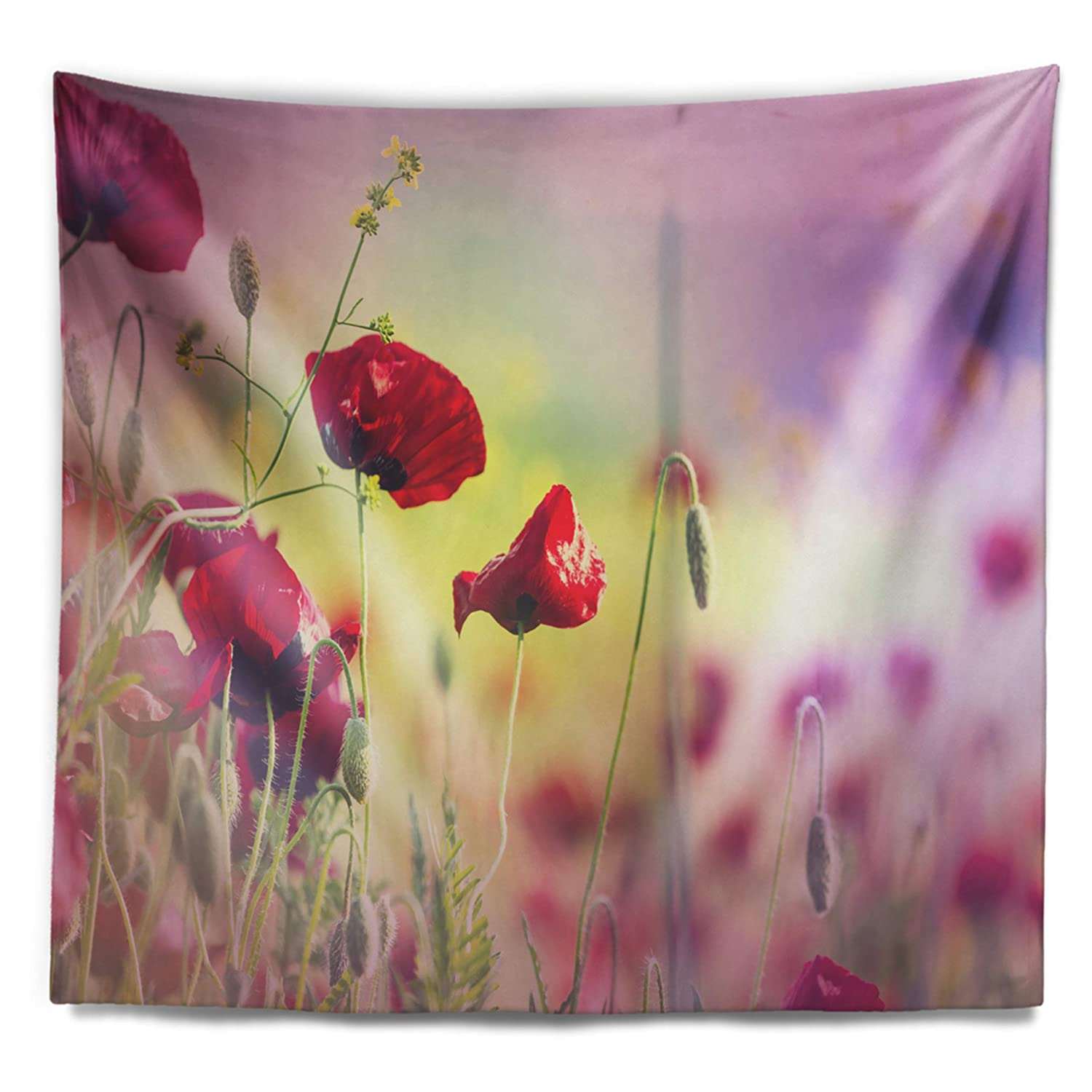 Designart TAP12709-60-50  Beautiful Poppy Flower Garden Floral Blanket D/écor Art for Home and Office Wall Tapestry Large 60 in in x 50 in