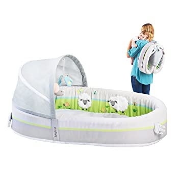 lulyboo portable lamb theme baby lounge with activity bar and rattle toys