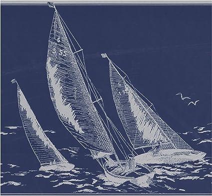 Prepasted Wallpaper Border Sail Boats In Sea Sketch Dark Grey Blue Nautical Wall Border Retro Design Roll 15 Ft X 9 In Amazon Com