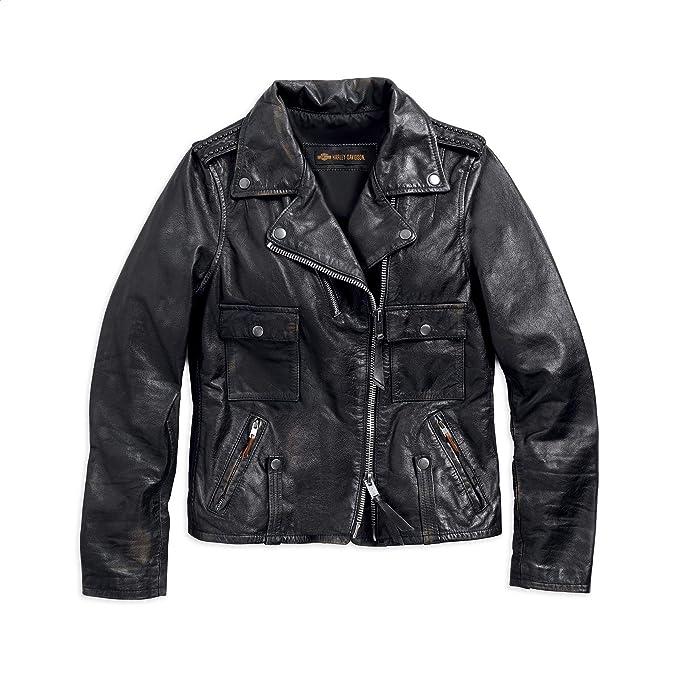 Amazon.com: Harley-Davidson - Chaqueta de motorista de piel ...