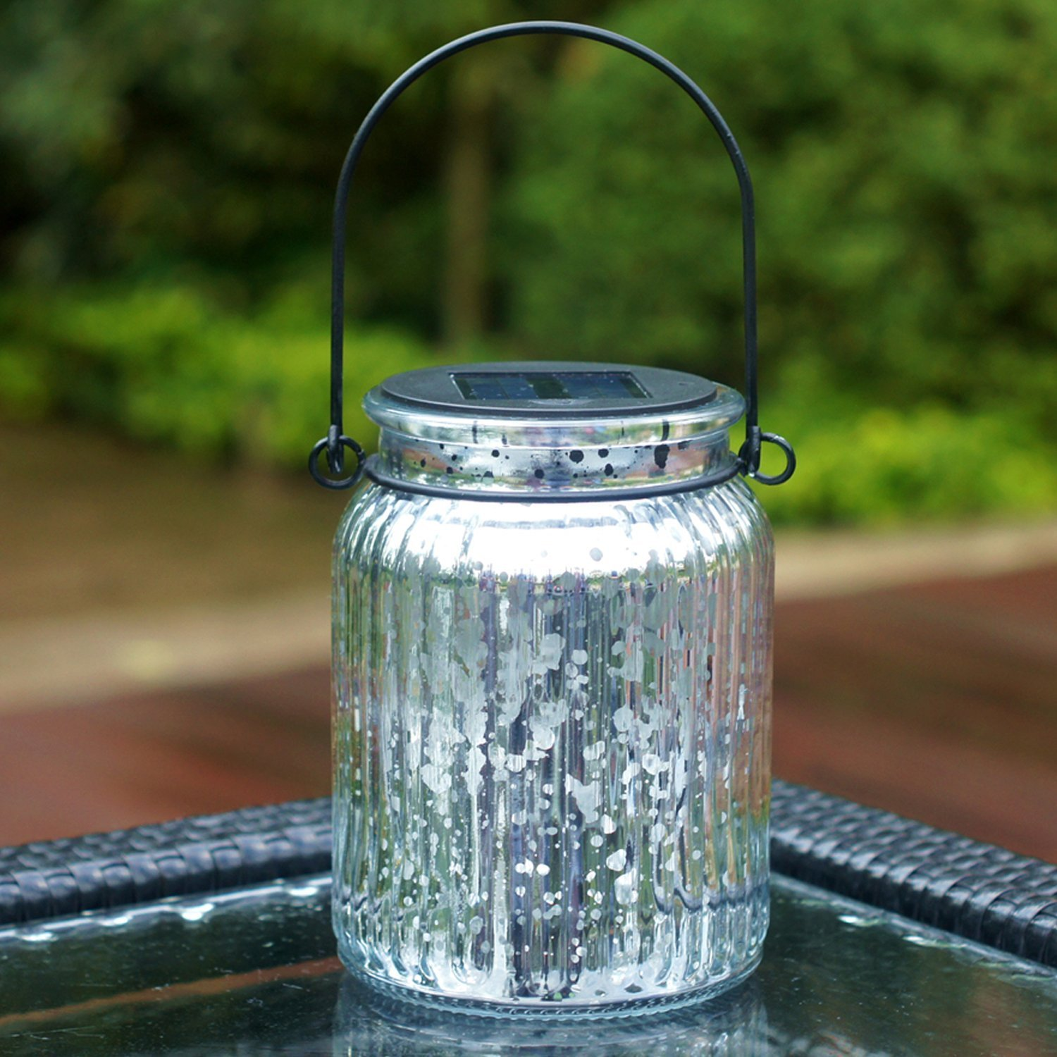 Solar Silver Mercury Glass Jars - 2 Pack Outdoor Table Lamps Mason Jar Solar Lights Indoor Outdoor for Patio Garden Lawn Wall Decor
