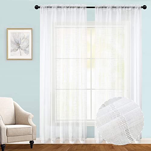 Joywell Elegant Pure Linen Sheer Curtains for Bedroom, 2 Panels Privacy Protection Window Treatment Drapes for Living Room, Textured Linen Semi-Sheer, 54 by 95 Inch, Off-White
