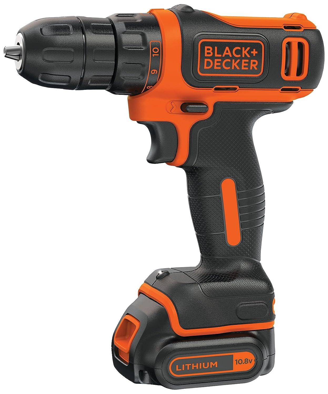 BLACK + DECKER BDCD12 10.8V Li-Ion Cordless Drill (Orange, 3-Pieces)