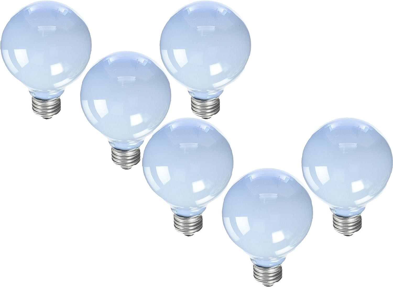 GE Reveal Frosted 40-Watt 250 Lumens; 1.4 Year Life G25 Decorative Globe Light Bulbs (6 Bulbs)