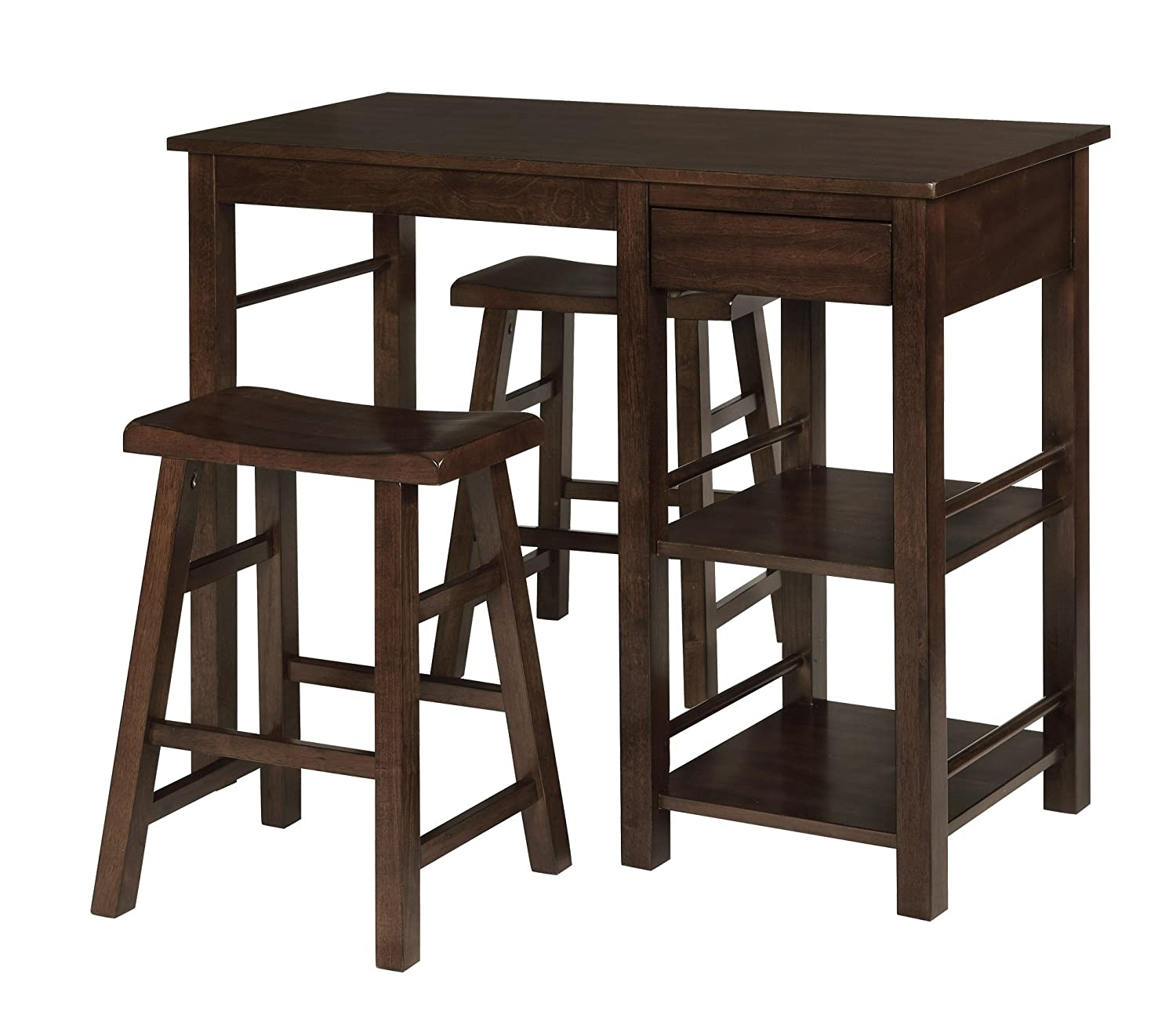 eHemco 3 Piece Counter Height Wood Breakfast Table with 2 Saddle Stools in Walnut