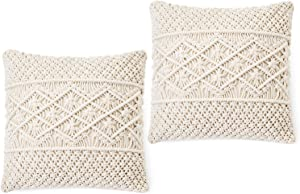Dahey Throw Pillow Cover Macrame Pillow Case Decorative Cushion Cover for Bed Sofa Couch Bench Car Boho Home Decor,Set of 2(Pillow Inserts Not Included),17 Inches