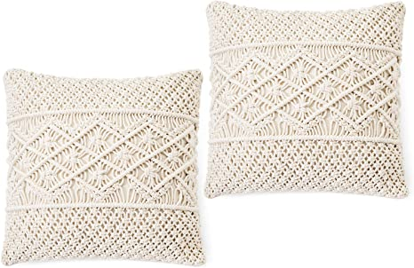 Throw Pillow Cover Macrame Cushion Case Decorative for Bed Sofa 18 inch Set of 2