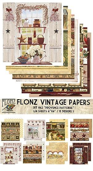 Flonz Paper Pack (24blatt 15x15cm) Provence Pastoral Vintage Muster ...