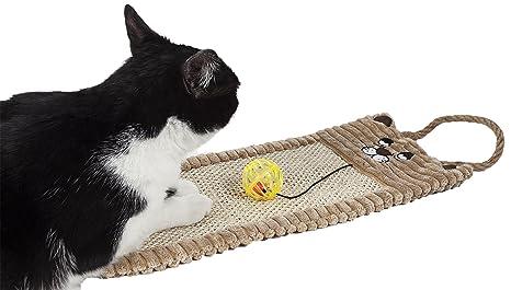 PetLife Eco-Natural Sisal y Yute para Colgar alfombras Gatito rascador Gato salón con Juguete