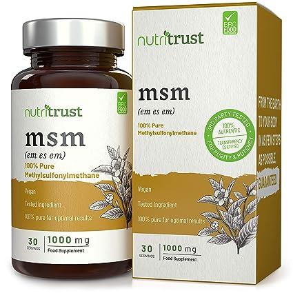 MSM 1000 mg Cápsulas de Nutritrust®- Methylsulfonylmethane 100% puro - Ingrediente probado por